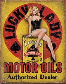 Lucky Lady Motor Oil   Metalen wandbord 31,5 x 40,5 cm.