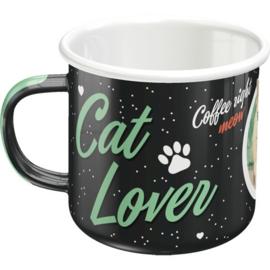 Cat Lover Black Emaille Drinkbeker.