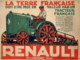 RENAULT Tracteur Metalen wandbord 30 x 40 cm .