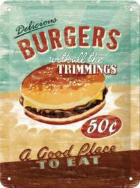 Delicious Burgers Metalen wandbordin reliëf15x20 cm