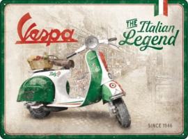 Vespa - Italian Legend.  Metalen wandbord in reliëf 30 x 40 cm .