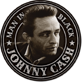 Johnny Cash - Man in Black   Metalen wandbord Ø 30 cm.​