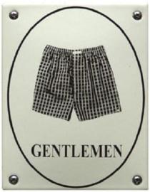 Gentleman boxershort Emaille Toiletbordje 10 x 14 cm.