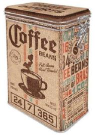 Coffee Beans.  Bewaarblik met beugelsluiting.