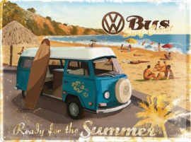 VW Bus Surf Coast Ready For The Summer  Metalen wandbord in reliëf 30 x 40 cm