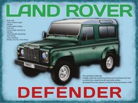 Land Rover Defender.  Metalen wandbord 30 x 40 cm.