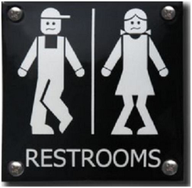 Restrooms Emaille Toiletbordje 10 x 10 cm.