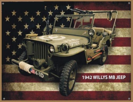 Willys MB Jeep 1942 Metalen wandbord 30 x 40 cm