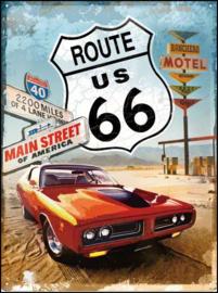 Route 66 Main Street  Metalen wandbord in reliëf 30 x 40 cm