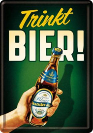 Trinkt Bier Metalen Postcard 10 x14 cm