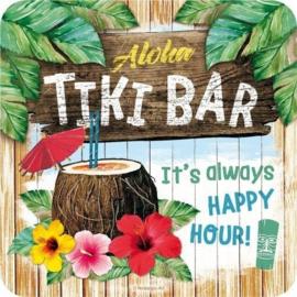 Aloha Tiki Bar.  Onderzetters 9 x 9 cm.  5 stuks.