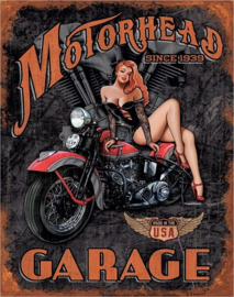 Motorhead Garage Since 1939. Metalen wandbord 31,5 x 40,5 cm.