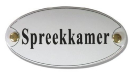 Spreekkamer Emaille Naambordje 10 x 5 cm Ovaal