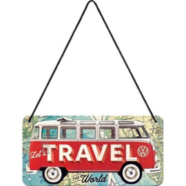 VW Lets Travel Metalen wandbord 10 x 20 cm.