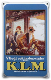 KLM Winter Emaille Reclamebord 20 x 33 cm.