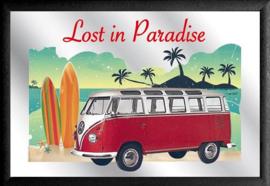VW Bus Lost in Paradise 2 Spiegel 22 x 32 cm.