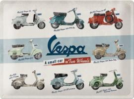 Vespa Model Chart  Metalen wandbord in reliëf 30 x 40 cm.