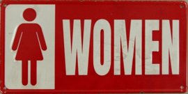 Toiletbordje Women.  Metalen wandbord in reliëf 15 x 30 cm.