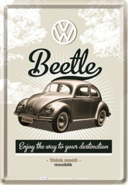 VW Beetle Metalen Postcard 10 x 14 cm
