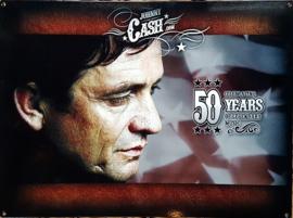 Johnny Cash 50 Years.   Metalen wandbord 30 x 40 cm.