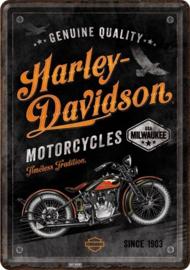 Harley-Davidson - Timeless Tradition. Metalen Postcard 10  x 14 cm.