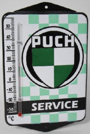 Puch Service.  Emaille thermometer met oren.