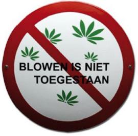 Blowen is niet toegestaan Emaille bordje ⌀ 30 cm.