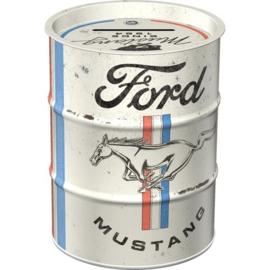 Ford Mustang - Horse & Stripes Logo.   Oil Barrel Money Box.