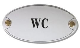 WC Emaille Naambordje 10 x 5 cm Ovaal