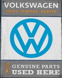 VW Genuine Parts Metalen wandbord 30 x 41 cm.