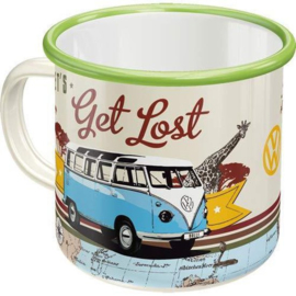 VW Bulli Lets Get Lost. Emaille Drinkbeker.