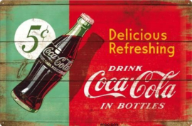 Delicious Refreshing Drink Coca Cola Metalen wandbord in reliëf 40x60 cm