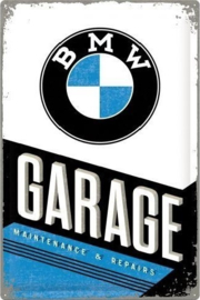 BMW Garage.   Metalen wandbord in reliëf 40 x 60 cm.