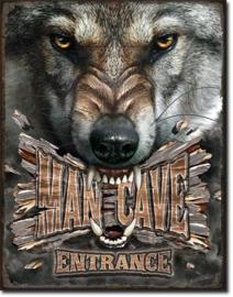 ManCave Wolf Metalen wandbord 31,5 x 40,5 cm.