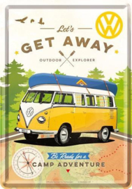VW Lets Get Away  Metalen Postcard 10 x 14 cm