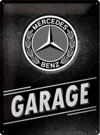 Mercedes-Benz Garage  Metalen wandbord in reliëf 30 x 40 cm .