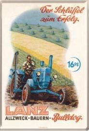 LANZ Bulldog Metalen Postcard 10 x14 cm.
