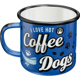 Hot Coffee & Cool Dogs Emaille Drinkbeker.