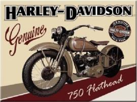 Harley Garage 750 Flathead. Koelkastmagneet 8 cm x 6 cm.