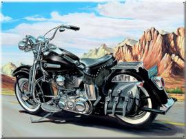 Bike on route 66 Navajo woestijn.Metalen wandbord 40 x 30 cm