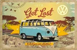 VW Lets Get Lost.  Metalen wandbord in reliëf 40 x 60 cm.