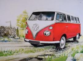 Volkswagen  Rood Wit  . Metalen wandbord 30 x 41 cm.
