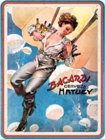 Bacardi Cerveza Hatuey.  Metalen wandbord in reliëf 15 x 20 cm..