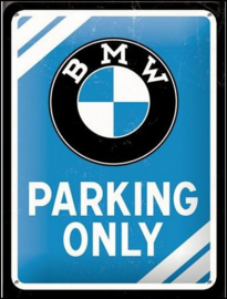 BMW Parking Only  Metalen wandbord in reliëf 15x20 cm