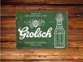 Grolsch Excellence in Brewing  Metalen wandbord 31,5 x 40,5 cm.
