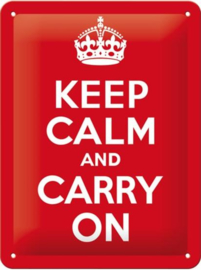 Keep Calm and Carry On Metalen wandbord in reliëf 20 x 30 cm
