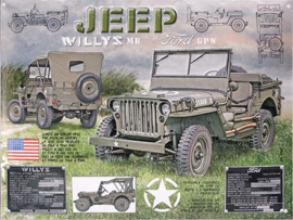 Jeep Willys MB Metalen wandbord 30 x 40 cm.