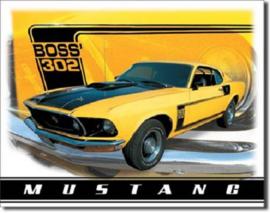 Ford Mustang Boss 302.  Metalen wandbord 31,5 x 40,5 cm.
