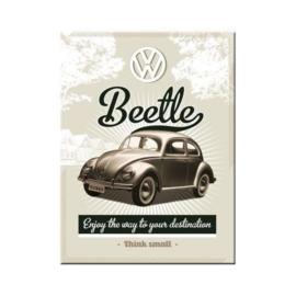 VW Beetle (Kever). Koelkastmagneet 8 cm x 6 cm.