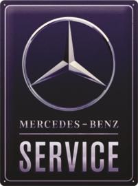 Mercedes Benz. Service Blue. Metalen wandbord in reliëf 30 x 40 cm .